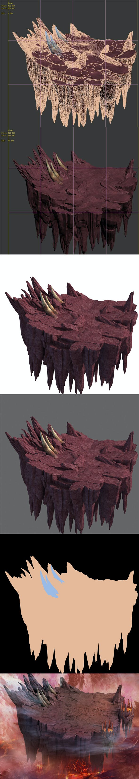 Flaming Cave - Upper and Middle Mountain - 3DOcean Item for Sale