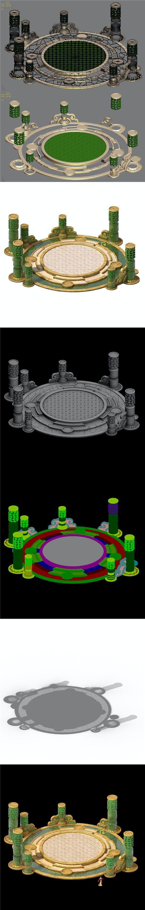 Building platform - round city center decoration - 3DOcean Item for Sale