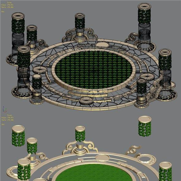 Building platform - round city center decoration