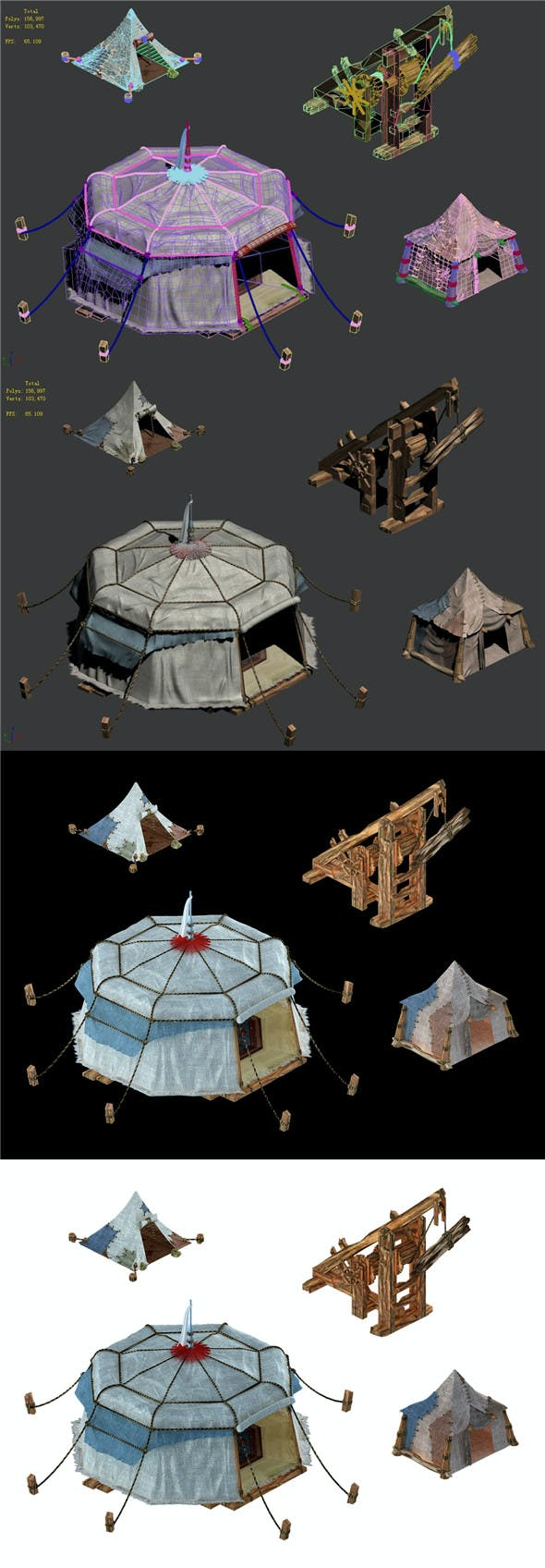 Military Buildings - Tents - Siege Weapons - 3DOcean Item for Sale