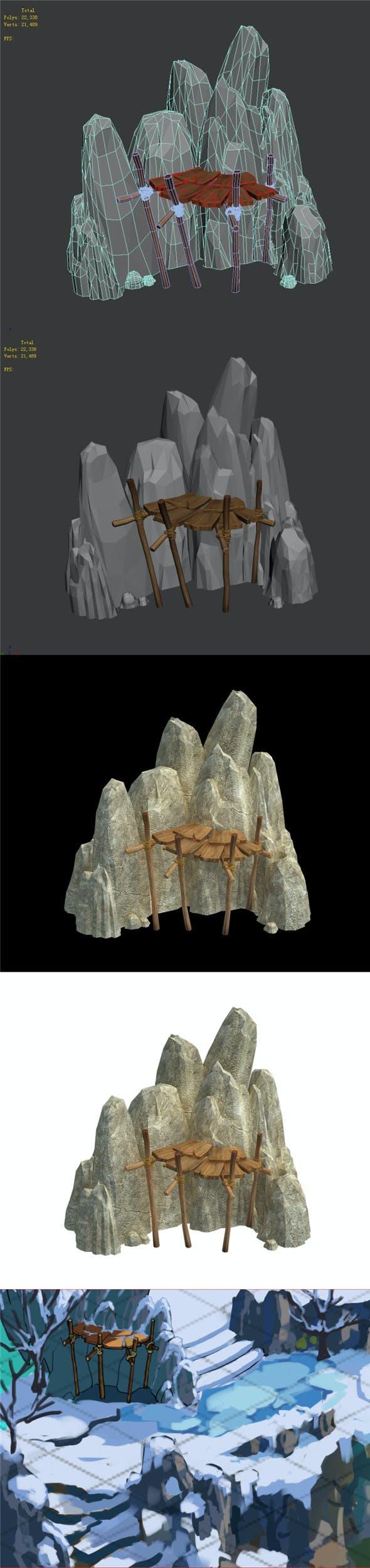 Kunlun Mountains - Mountain House 02 - 3DOcean Item for Sale
