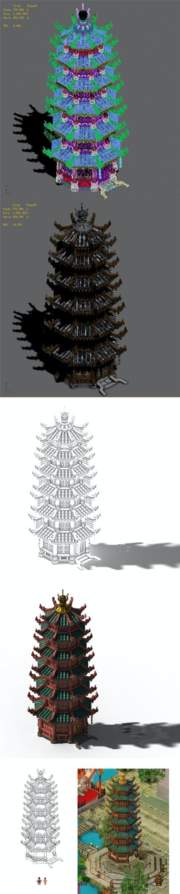 Lin an City - Lei Fengta - 3DOcean Item for Sale