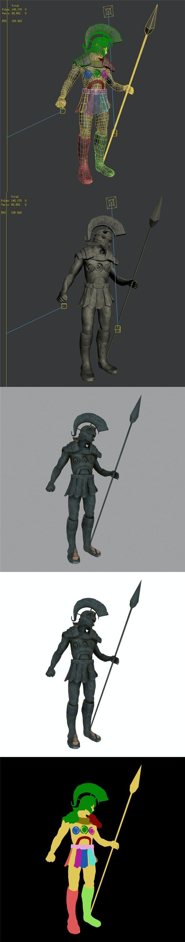 Roman Hero - Statue of Soldier - 3DOcean Item for Sale
