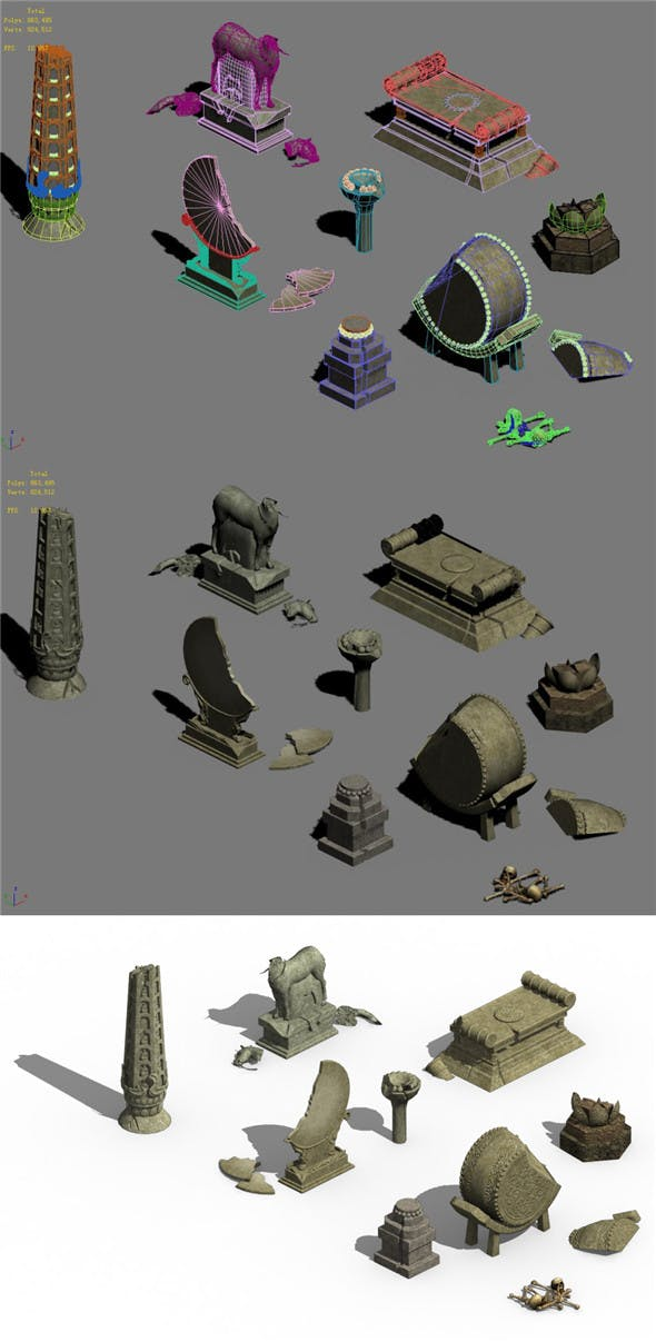 Ancient ruins - altar damaged accessories - 3DOcean Item for Sale