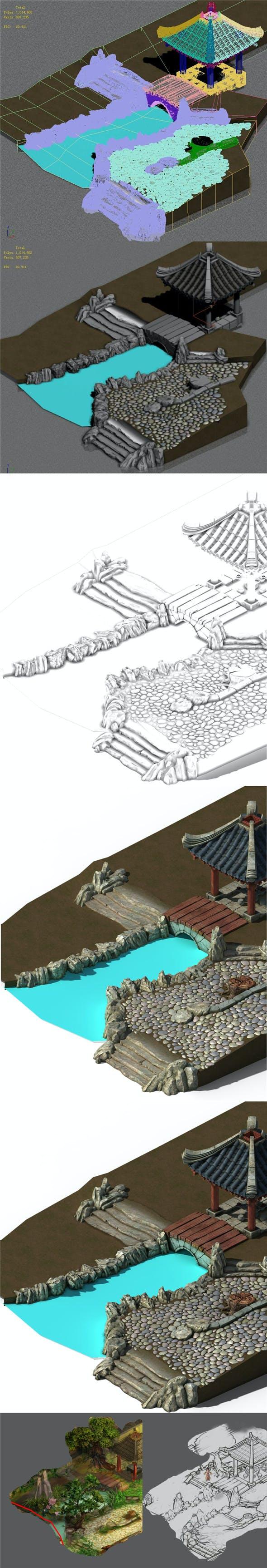 Xiangyang City - backyard pavilion - 3DOcean Item for Sale