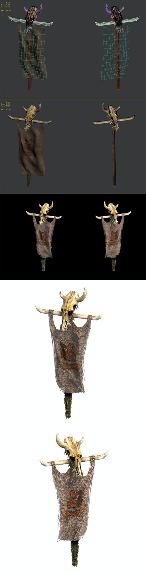 Regulus tribe - cattle head bone flag woven - 3DOcean Item for Sale