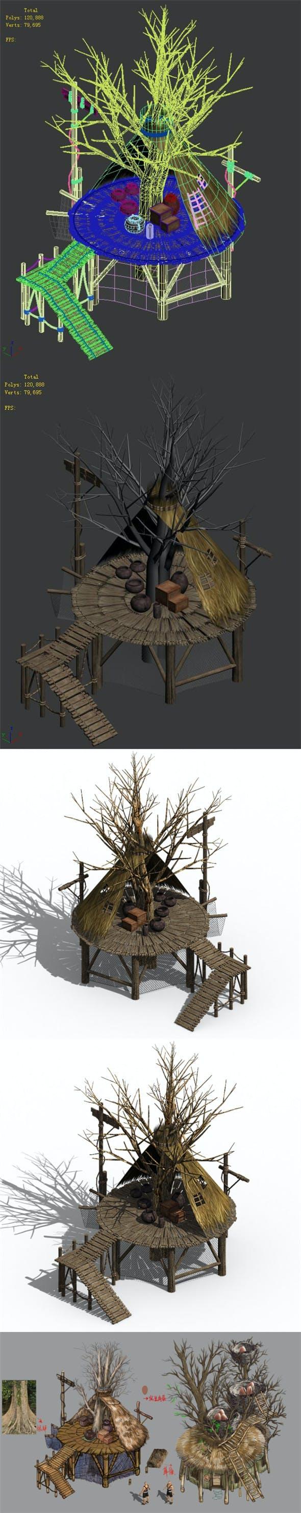 Primitive tribe - tree building 01 - 3DOcean Item for Sale