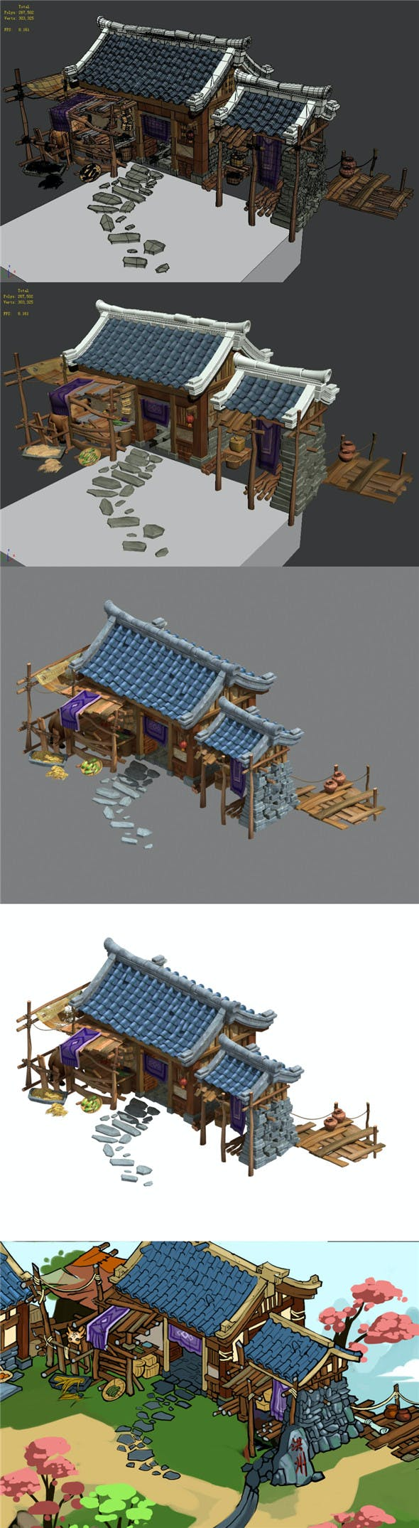 Ancient Chinese Architecture - Country House - 3DOcean Item for Sale