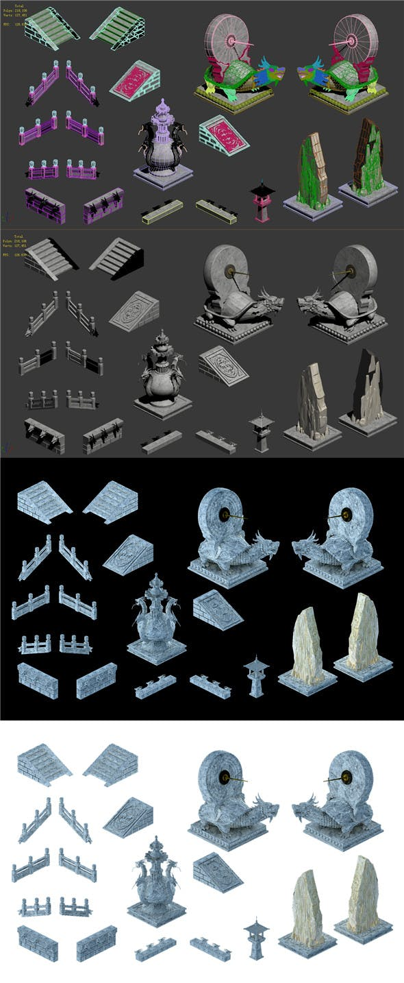 Ancient Chinese architecture - accessories 043 - 3DOcean Item for Sale