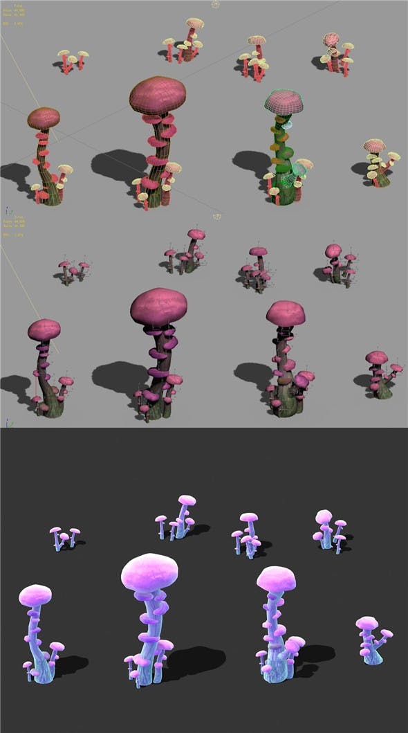 Cartoon Sky City - Ice and Snow Mushroom - 3DOcean Item for Sale