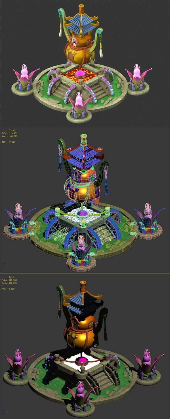 Cartoon Sky City - Laojun furnace - 3DOcean Item for Sale