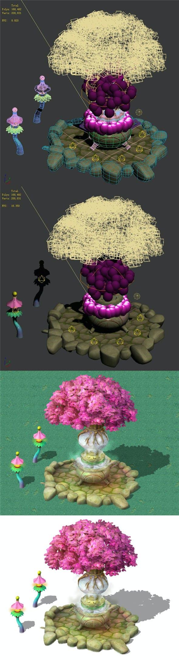 Cartoon Sky City - Tree Temple - 3DOcean Item for Sale