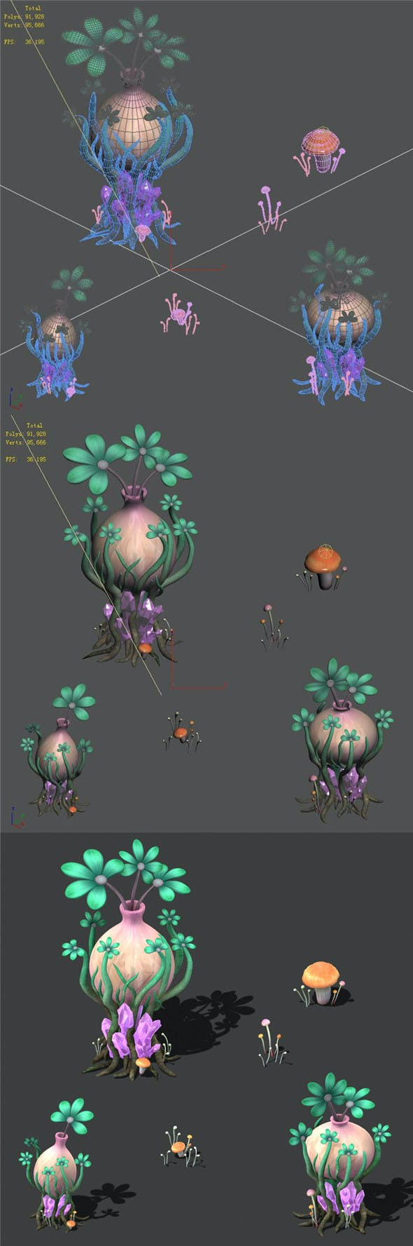 Cartoon Sky City - Water Bottle Grass - 3DOcean Item for Sale
