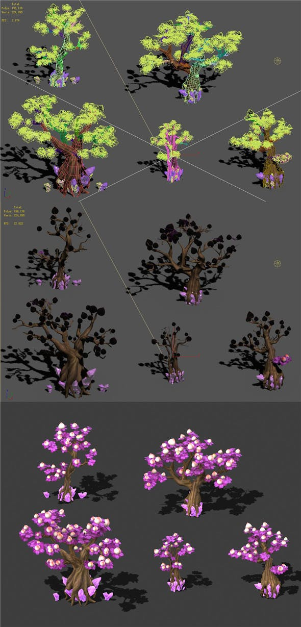Cartoon Sky City - Xiantao Tree 01 - 3DOcean Item for Sale