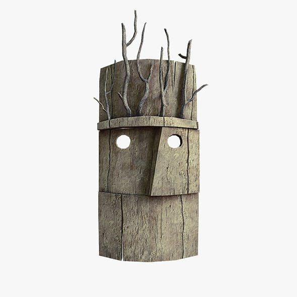 Wood mask with branches