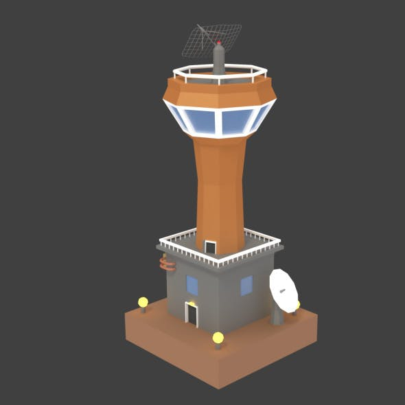 Low Poly Space Colony Tower - 3DOcean Item for Sale