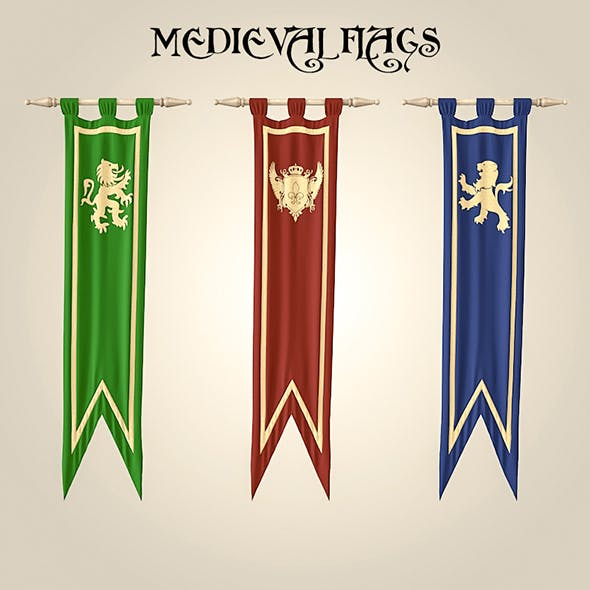 Medieval_flags - 3DOcean Item for Sale
