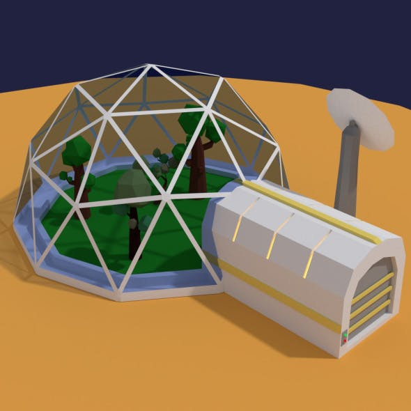 Low Poly Sci Fi Greenhouse - 3DOcean Item for Sale