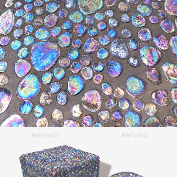 iridescent Pebble Tiles Seamless Texture