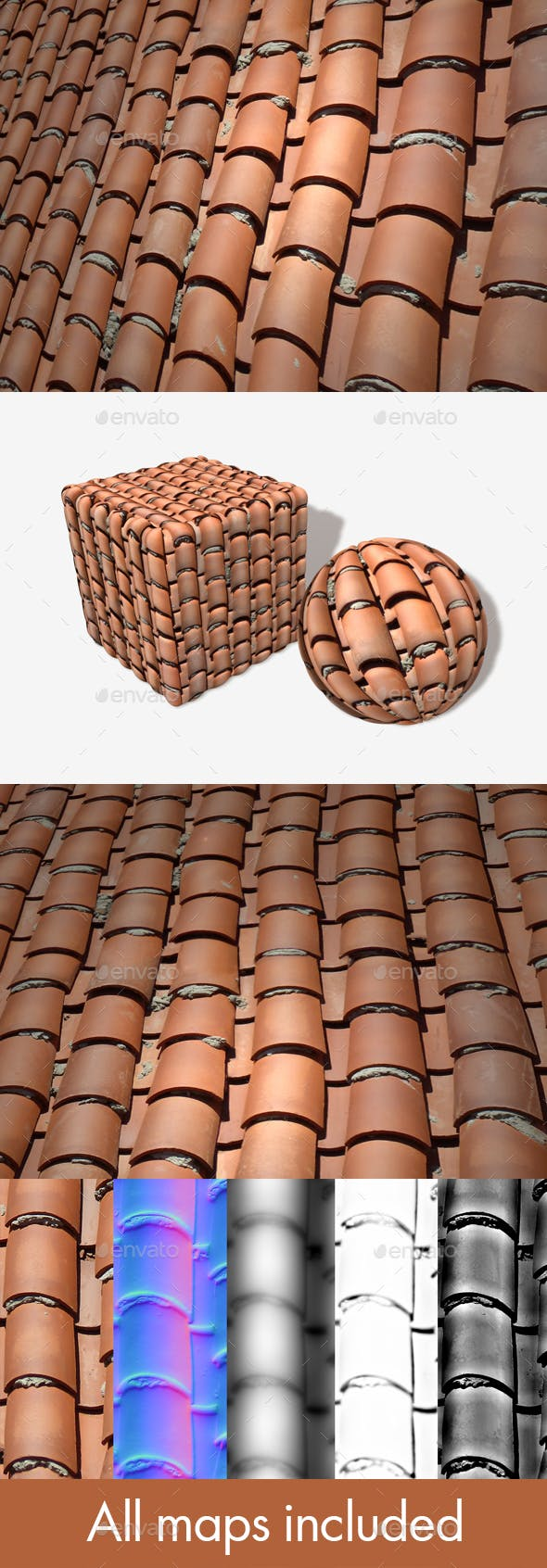 Messy Terracotta Roof Tiles Seamless 2 - 3DOcean Item for Sale
