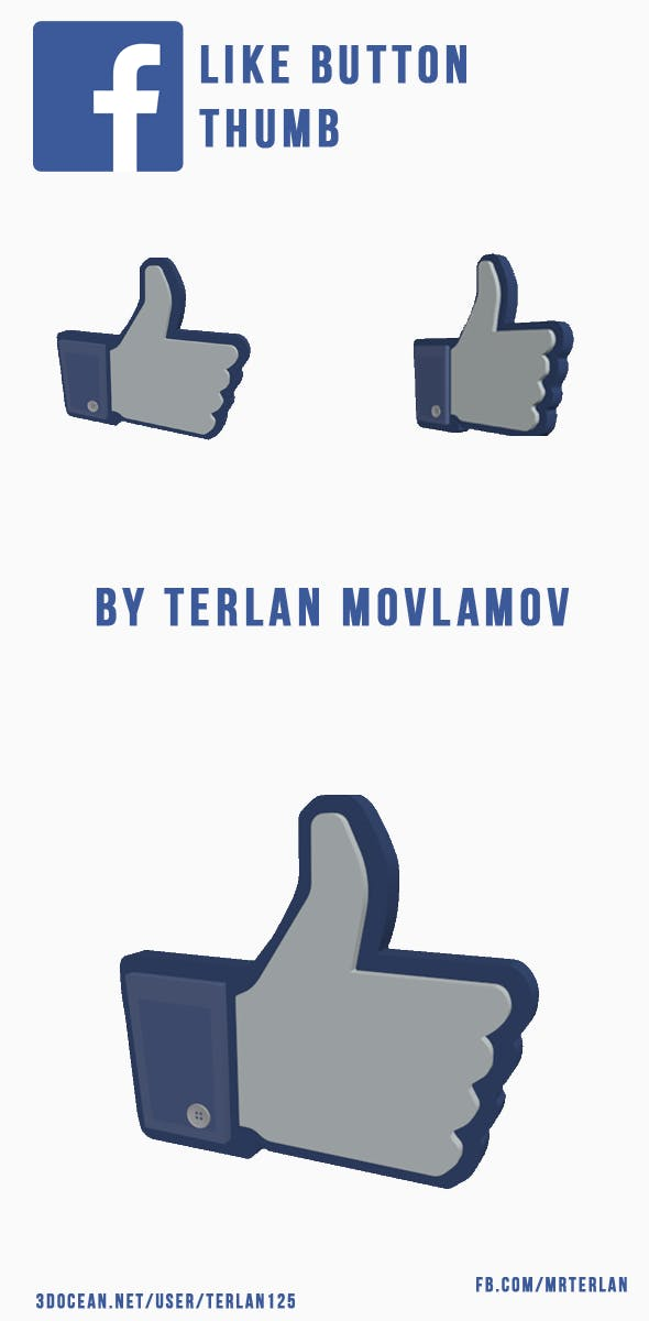 Facebook Like Button - FB Thumb - 3DOcean Item for Sale