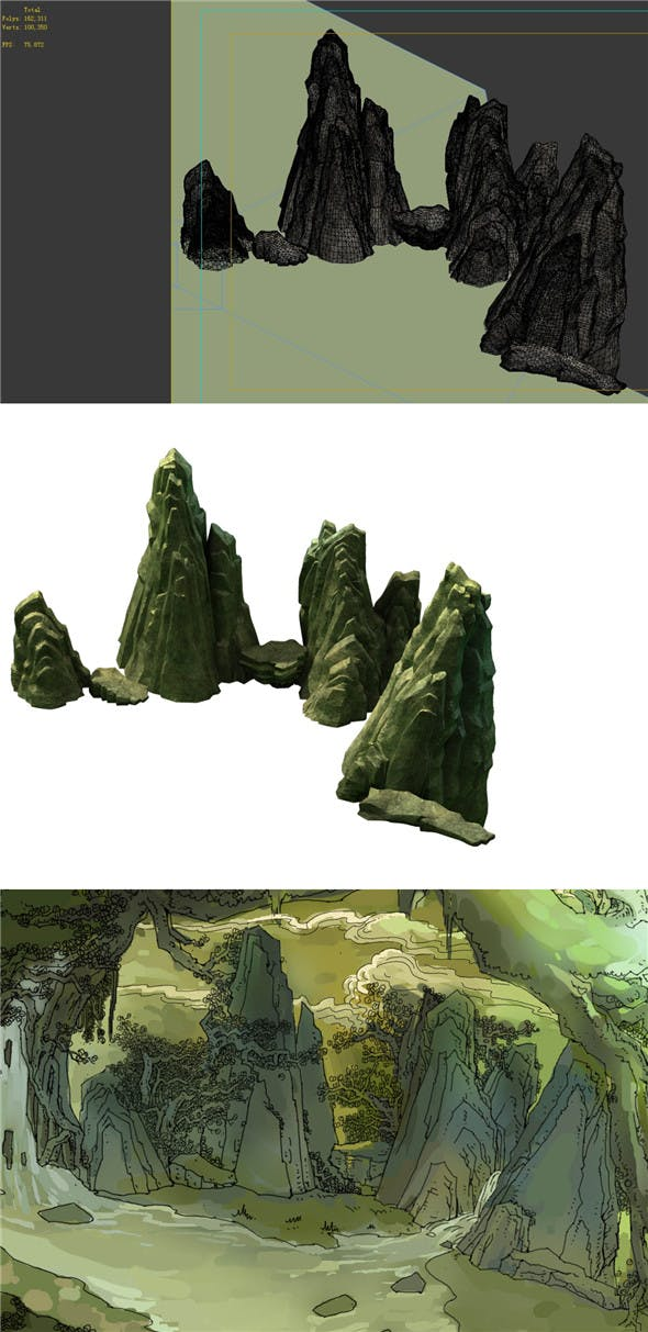 Game Model - Forest - Stone 04 - 3DOcean Item for Sale