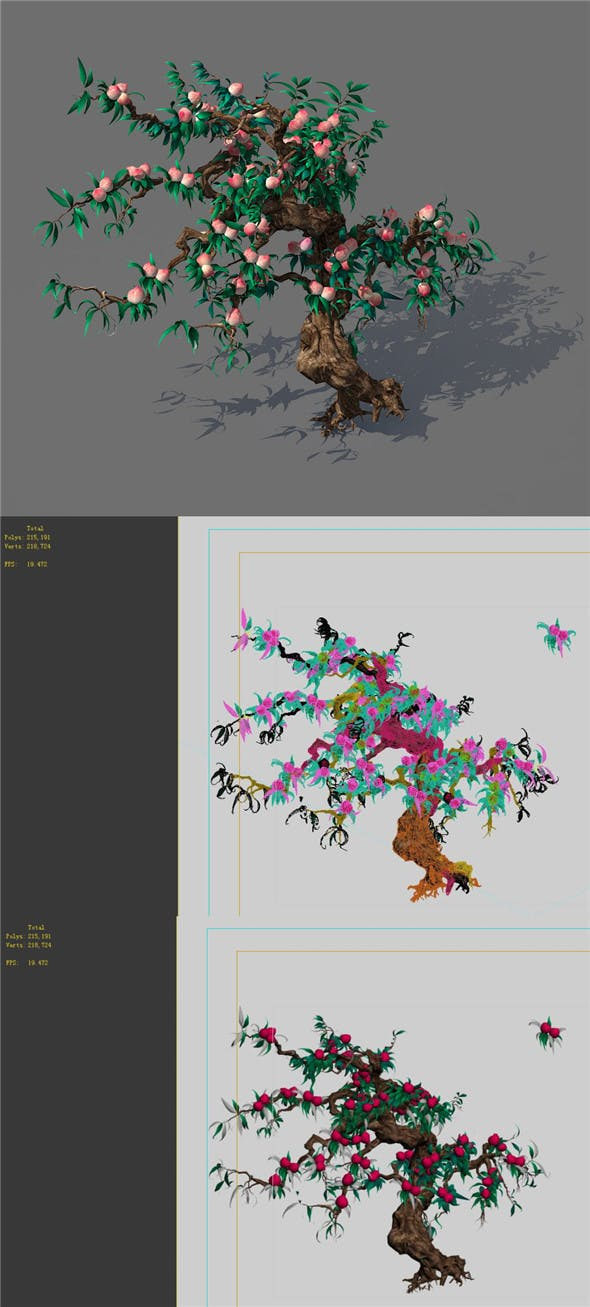 Game Model - Forest - Peach Tree 02 - 3DOcean Item for Sale