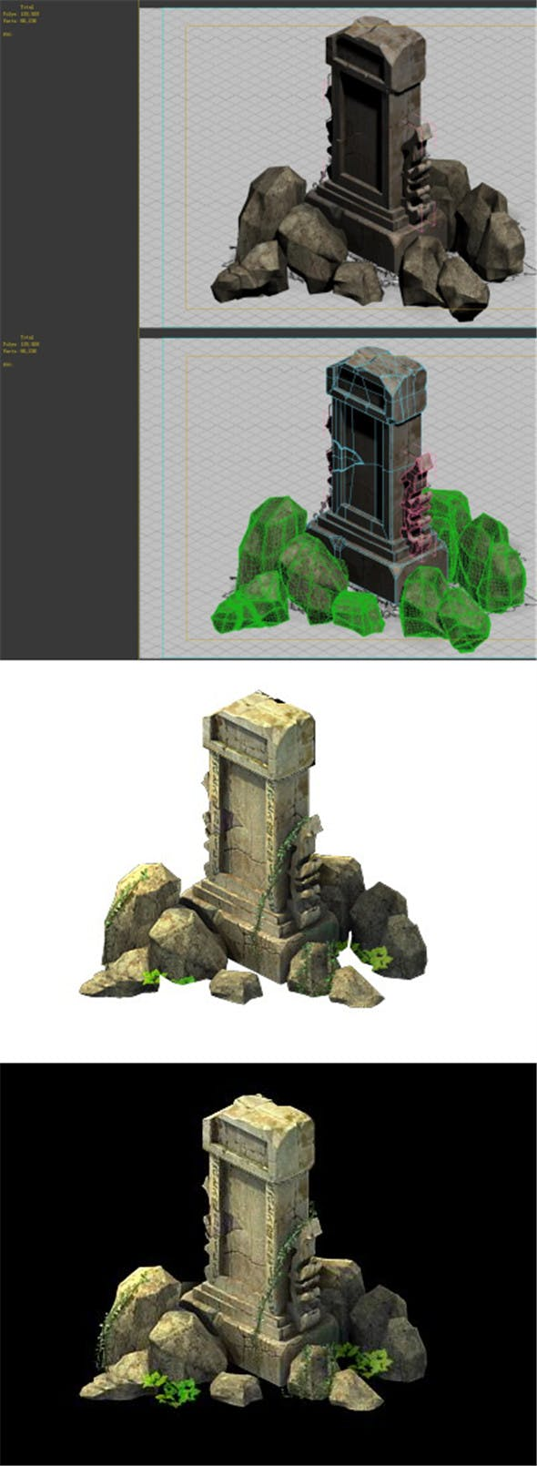 Game Model - Field - Broken Stones - 3DOcean Item for Sale