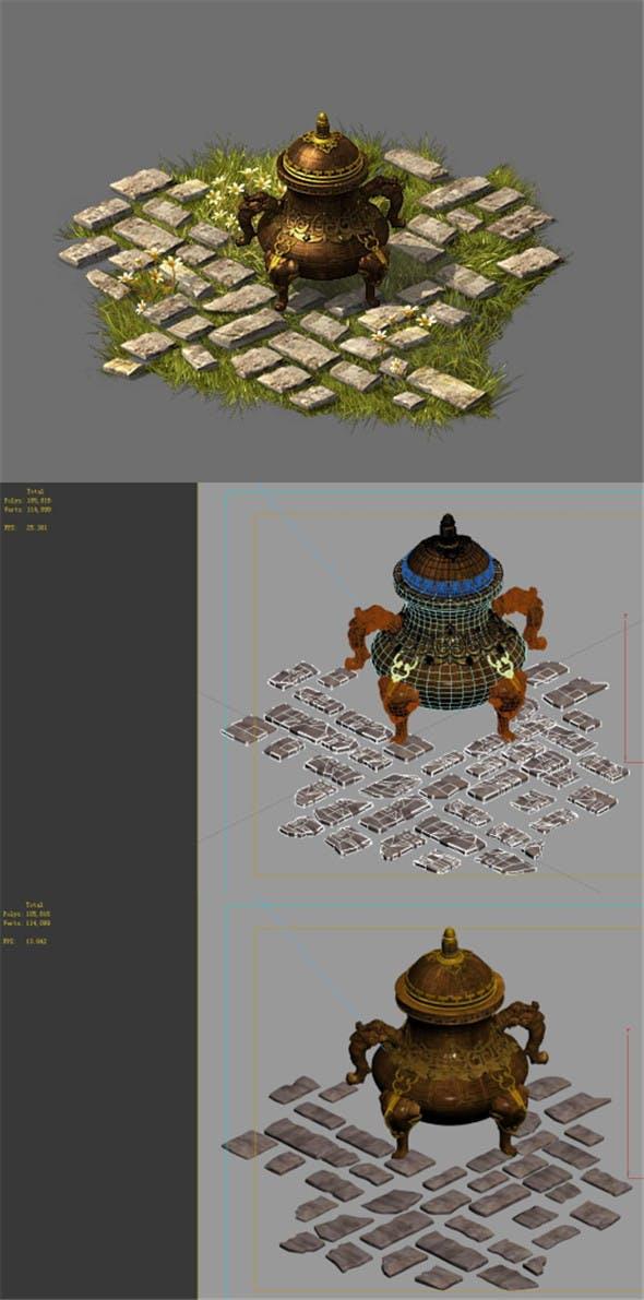 Game model - garden - stone incense burner - 3DOcean Item for Sale