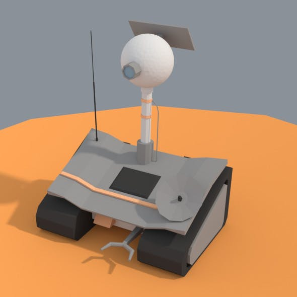 Low Poly Cartoony Planet Rover