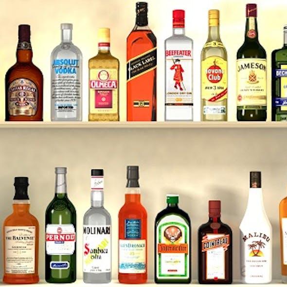 Liquor Bottles With Bar Unit Interior