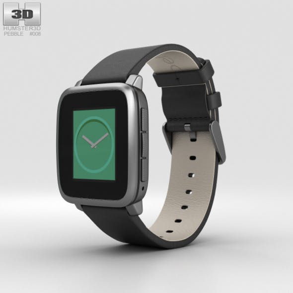 Pebble Time Steel Gunmetal Black - 3DOcean Item for Sale
