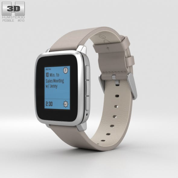 Pebble Time Steel Silver Stone Leather Band - 3DOcean Item for Sale