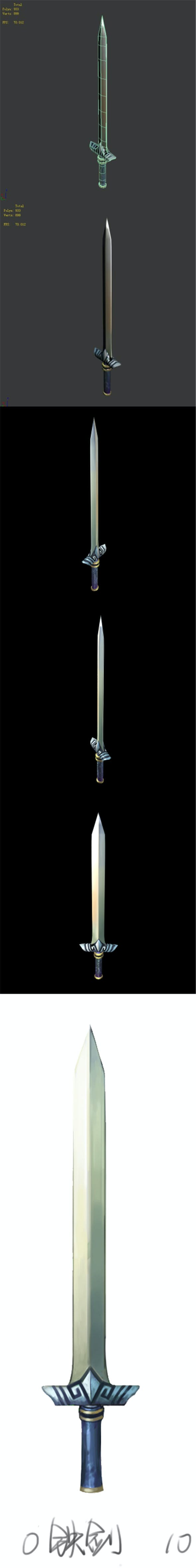 Game character weapons - iron sword - 3DOcean Item for Sale