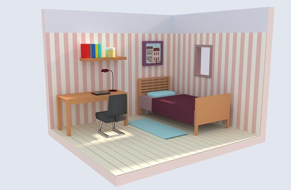 Low Poly Bedroom - 3DOcean Item for Sale