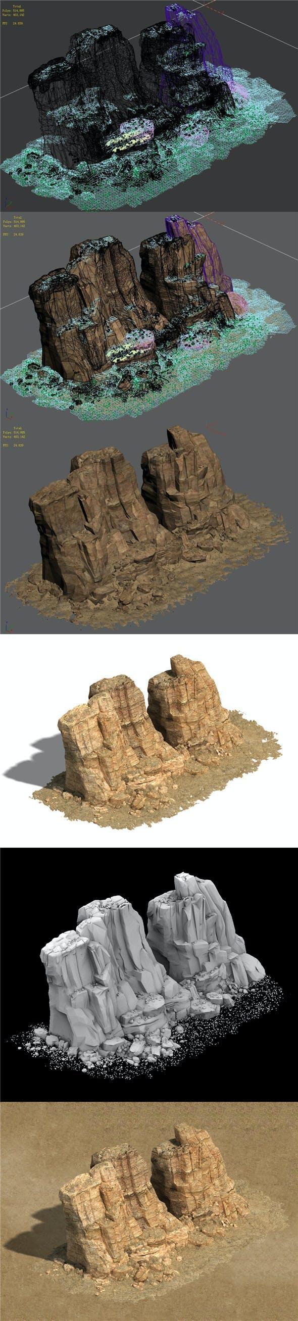 Barracks - Desert - Mountain 03 - 3DOcean Item for Sale