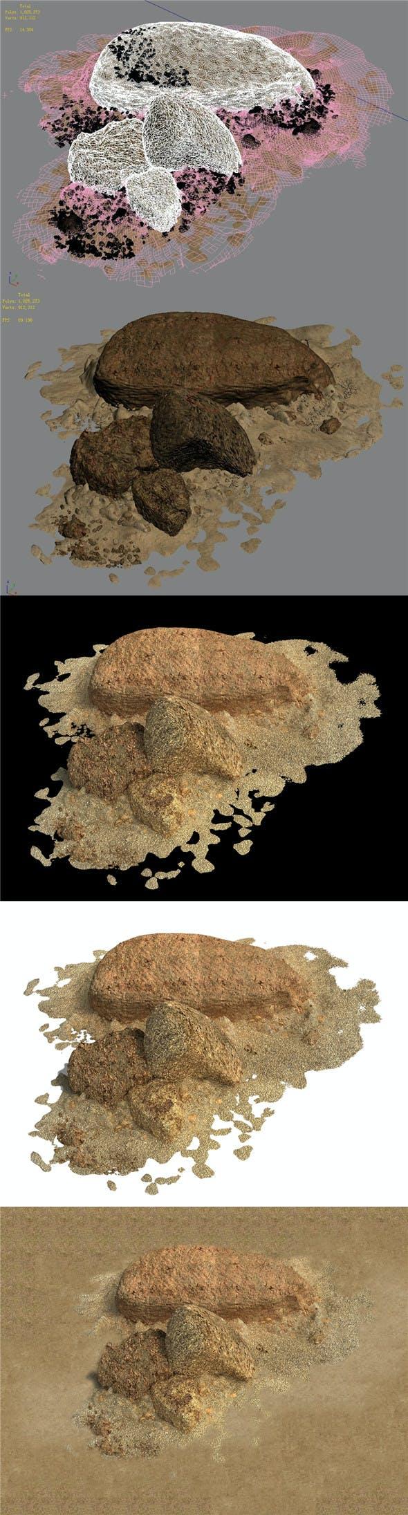 Barracks - Desert Stones - Gravel 01 - 3DOcean Item for Sale