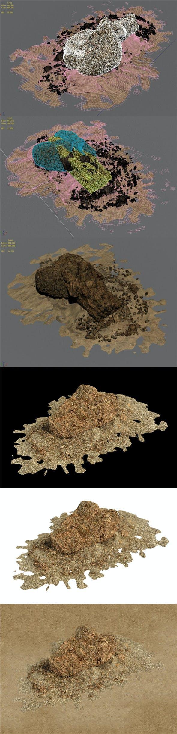 Barracks - Desert Stones - Crushed Stone 02 - 3DOcean Item for Sale