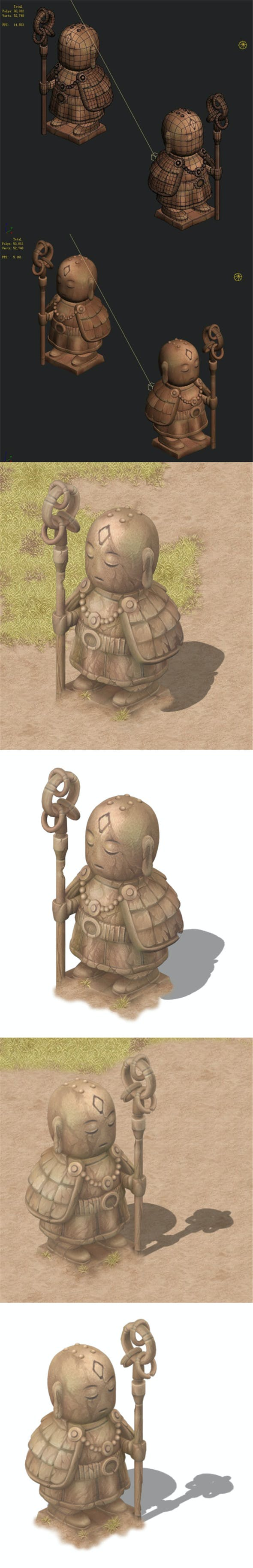 Cartoon version - ascetic monk statue 02 - 3DOcean Item for Sale