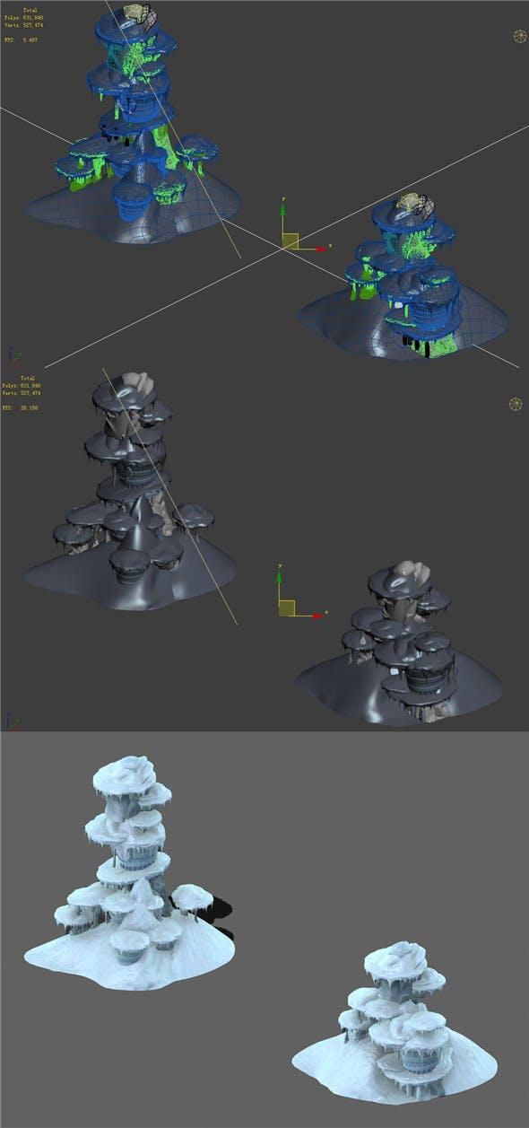 Cartoon Sky City - Frozen Mountain 01 - 3DOcean Item for Sale