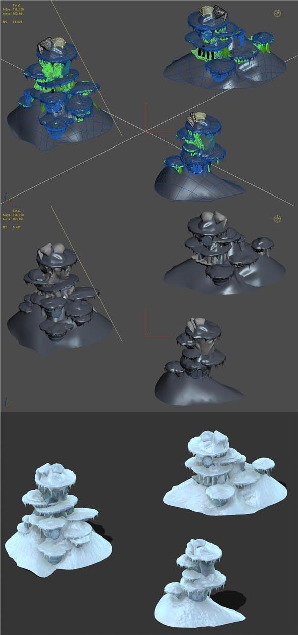 Cartoon Sky City - Frozen Mountain 02 - 3DOcean Item for Sale