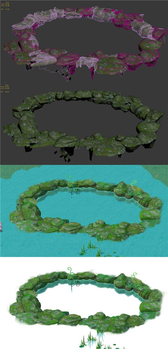 Cartoon Sky City - Once upon a time Jade pool Stone circle - 3DOcean Item for Sale