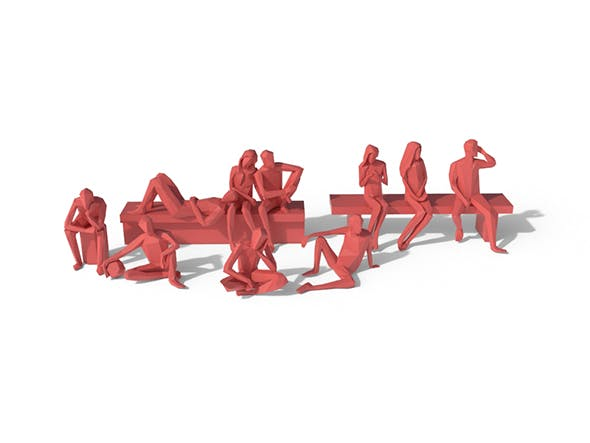 Low Poly Posed People Pack 5 - 3DOcean Item for Sale