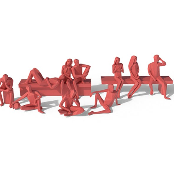 Low Poly Posed People Pack 5