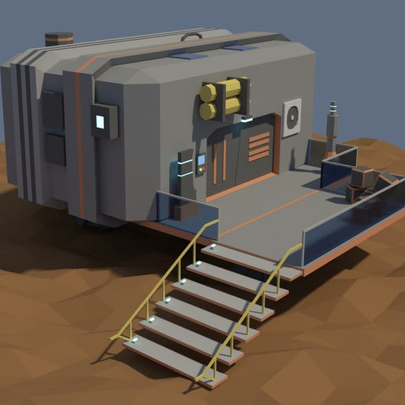 Low Poly Cartoony Sci Fi Building