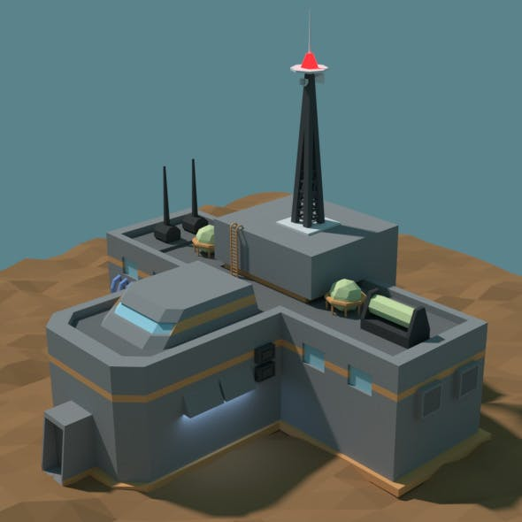 Low Poly Cartoony Sci Fi Building 2 - 3DOcean Item for Sale