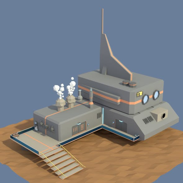 Low Poly Cartoony Sci Fi Building 3 - 3DOcean Item for Sale