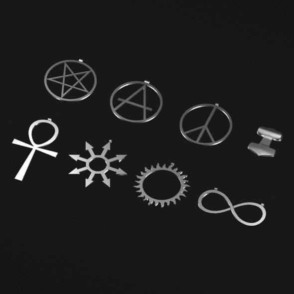 Various symbols pendants - 3DOcean Item for Sale