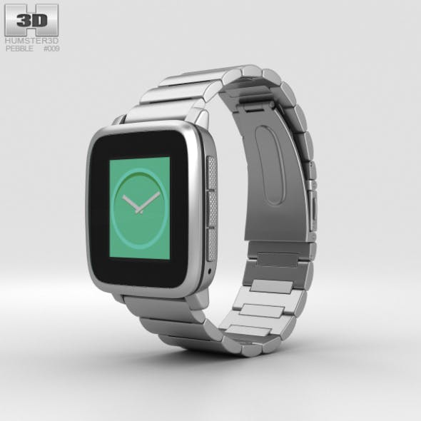 Pebble Time Steel Silver Metal Band - 3DOcean Item for Sale