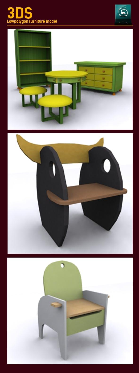 3D Lowpoly Kids furniture Model - 3DOcean Item for Sale